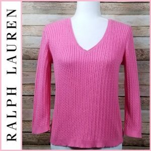 Ralph Lauren Cotton V-Neck Cable Pullover Sweater
